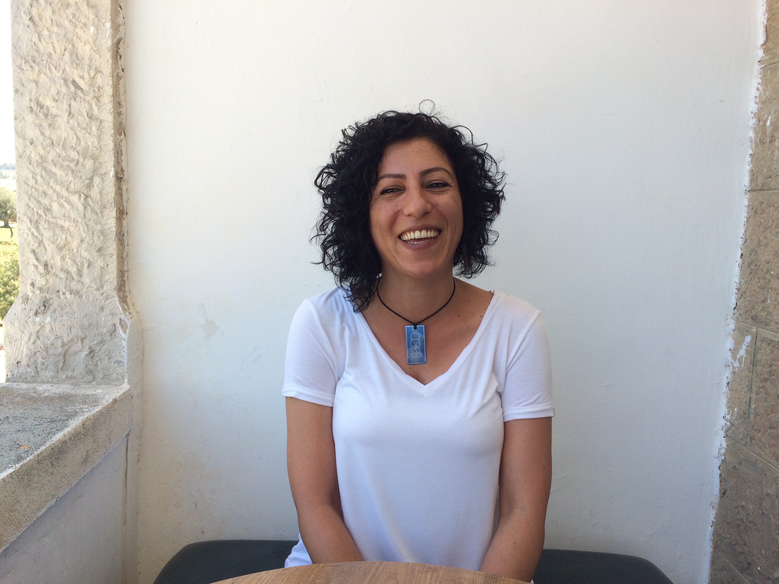 Fayrouz Sharqawi during the interview. Photo: Anas Kababo