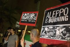"Israelis and Palestinians protesting bombing of Aleppo: ""Yalla irhal ya Bashar!"""