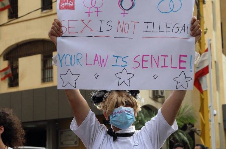 Protester at demonstration in Beirut on the International Day Against Homophobia and Transphobia 2016. Credit: Helem
