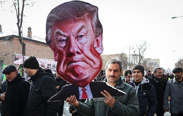 Anti-Trump banner in Ardabil, Iran. February 10, 2017. Source: Mohsen Zare/Tasnim News, via Wikimedia Commons